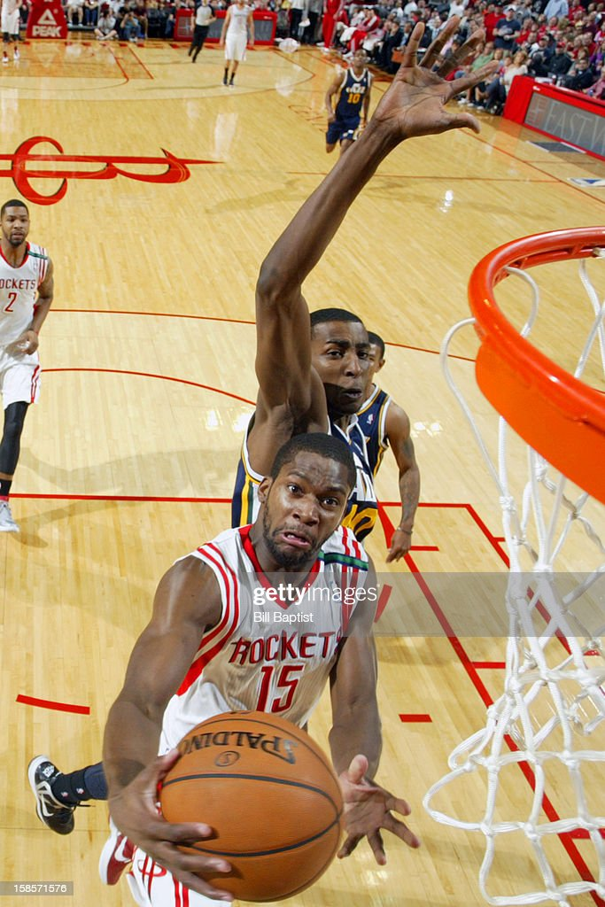 <a gi-track='captionPersonalityLinkClicked' href=/galleries/search?phrase=Toney+Douglas&family=editorial&specificpeople=2536966 ng-click='$event.stopPropagation()'>Toney Douglas</a> #15 of the Houston Rockets drives to the basket against the Utah Jazz on December 1, 2012 at the Toyota Center in Houston, Texas.