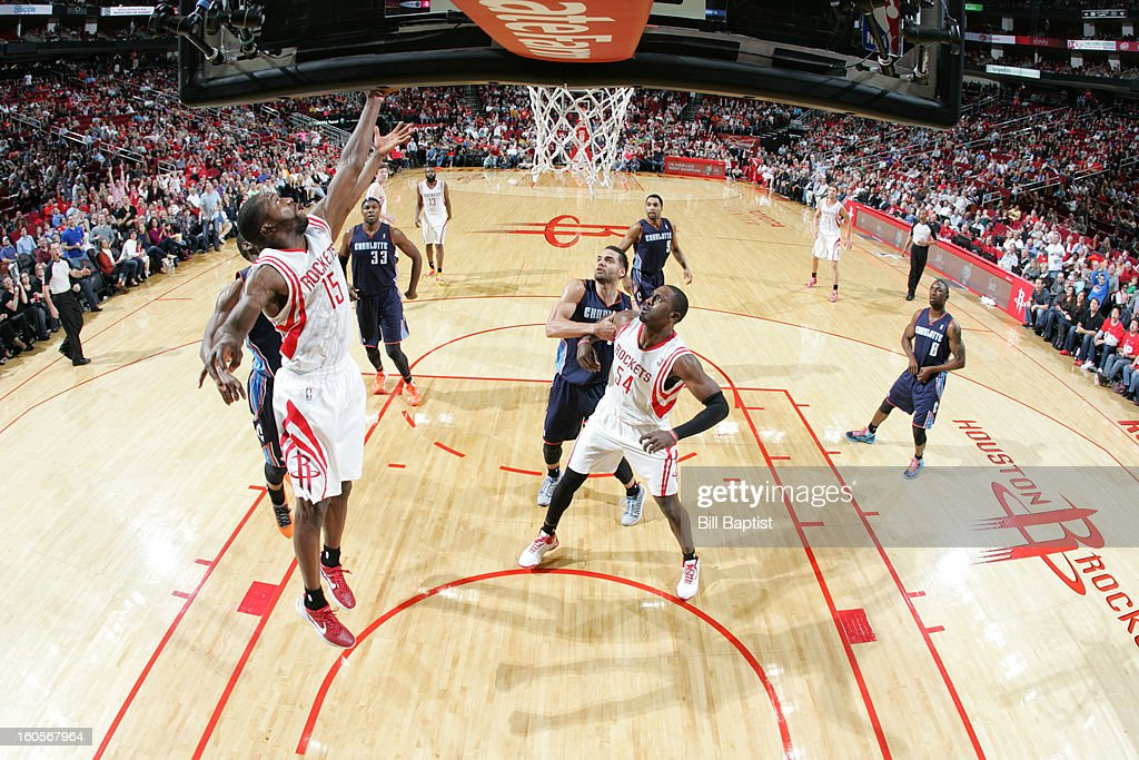 <a gi-track='captionPersonalityLinkClicked' href=/galleries/search?phrase=Toney+Douglas&family=editorial&specificpeople=2536966 ng-click='$event.stopPropagation()'>Toney Douglas</a> #15 of the Houston Rockets shoots against the Charlotte Bobcats on February 2, 2013 at the Toyota Center in Houston, Texas.