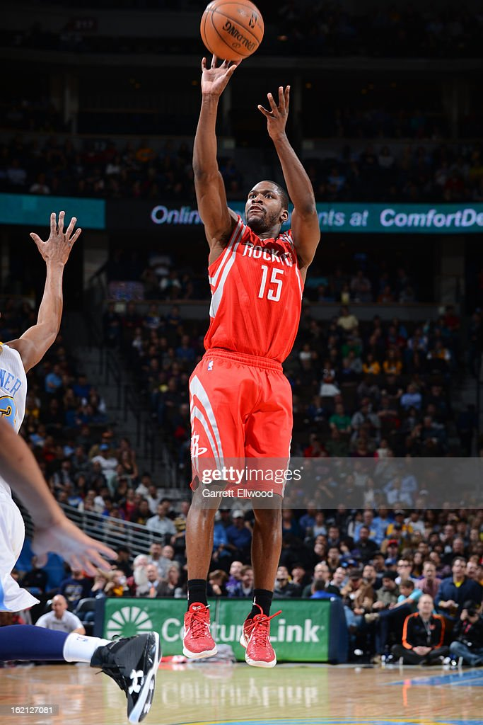 <a gi-track='captionPersonalityLinkClicked' href=/galleries/search?phrase=Toney+Douglas&family=editorial&specificpeople=2536966 ng-click='$event.stopPropagation()'>Toney Douglas</a> #15 of the Houston Rockets shoots against the Denver Nuggets on January 30, 2013 at the Pepsi Center in Denver, Colorado.