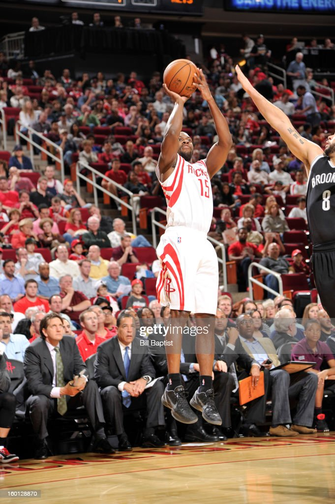 Toney Douglas #15 of the Houston Rockets shoots the ball against the Brooklyn Nets on January 26, 2013 at the Toyota Center in Houston, Texas.