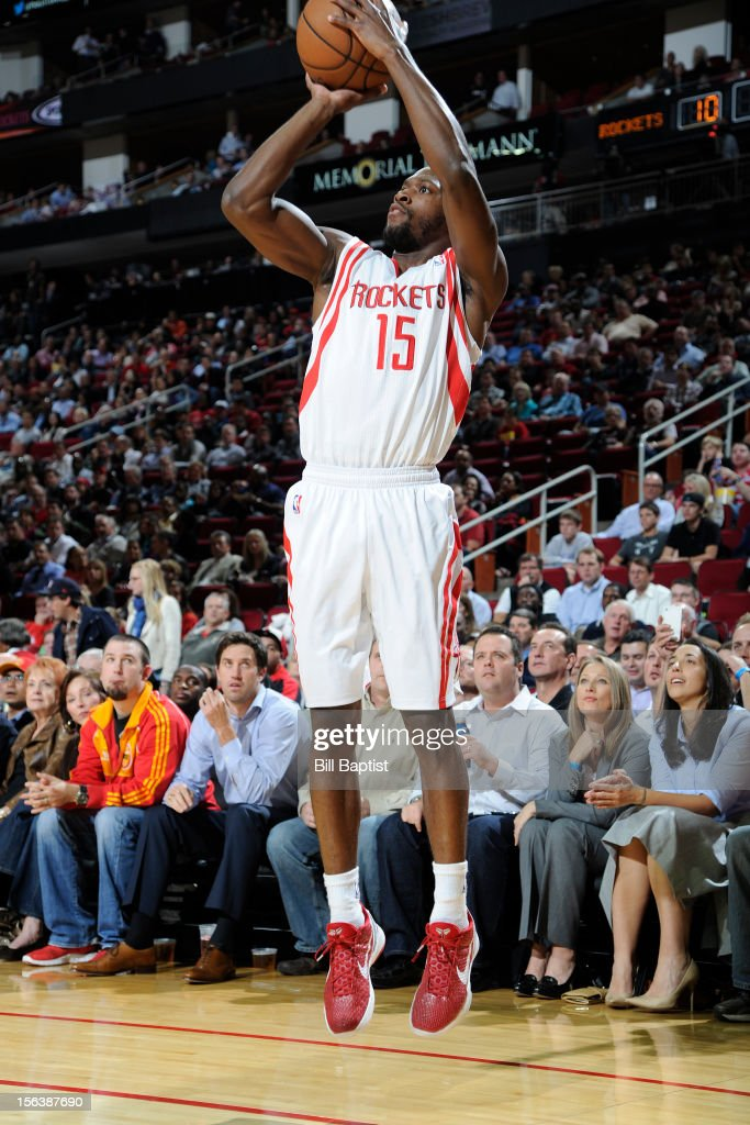 <a gi-track='captionPersonalityLinkClicked' href=/galleries/search?phrase=Toney+Douglas&family=editorial&specificpeople=2536966 ng-click='$event.stopPropagation()'>Toney Douglas</a> #15 of the Houston Rockets takes a shot against the Miami Heat on November 12, 2012 at the Toyota Center in Houston, Texas.
