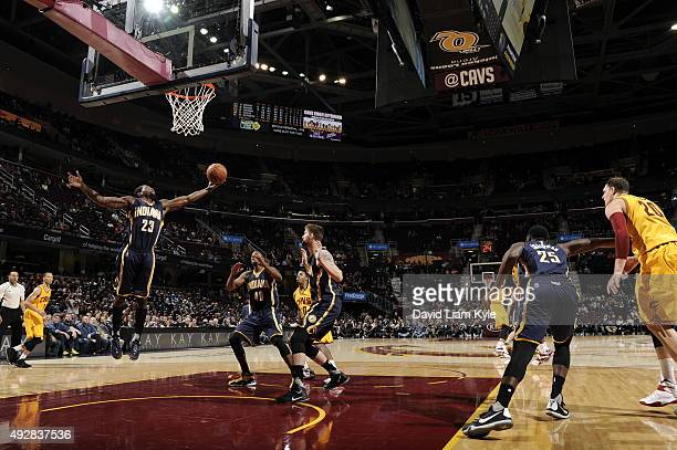 Toney Douglas of the Indiana Pacers grabs the rebound against the Cleveland Cavaliers on October 15 2015 at Quicken Loans Arena in Cleveland Ohio...