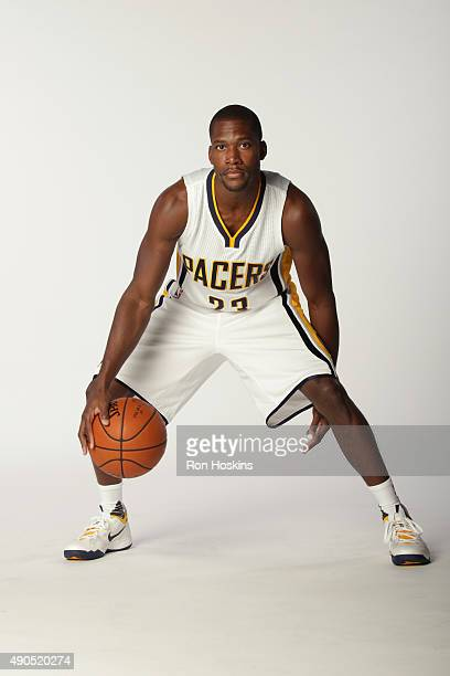 Toney Douglas of the Indiana Pacers poses for a portrait during the Indiana Pacers media day at Bankers Life Fieldhouse on September 28 2015 in...