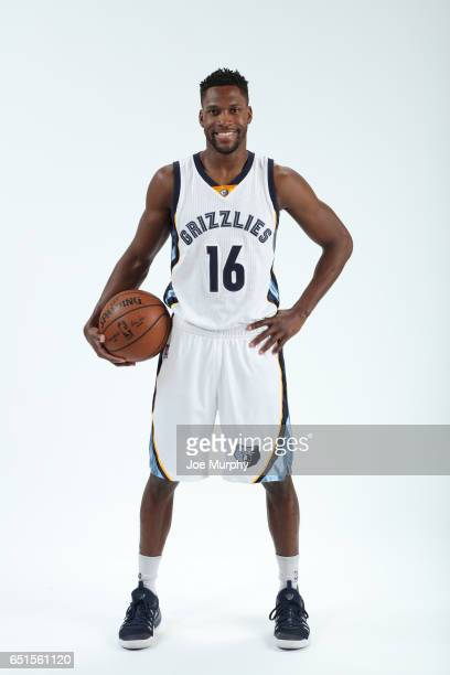 Toney Douglas of the Memphis Grizzlies poses for a portrait on March 10 2017 at FedExForum in Memphis Tennessee NOTE TO USER User expressly...