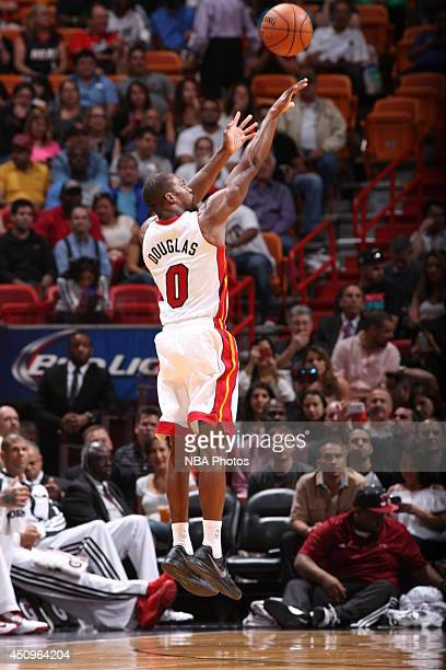 Toney Douglas of the Miami Heat shoots against the Milwaukee Bucks at the American Airlines Arena in Miami Florida on April 2 2014 NOTE TO USER User...
