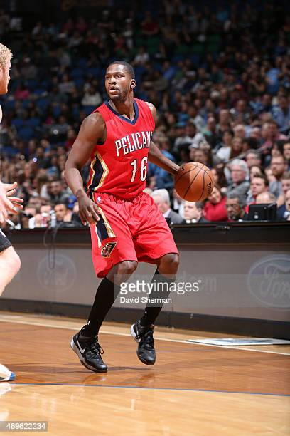 Toney Douglas of the New Orleans Pelicans defends the ball against the Minnesota Timberwolves during the game on April 13 2015 at Target Center in...
