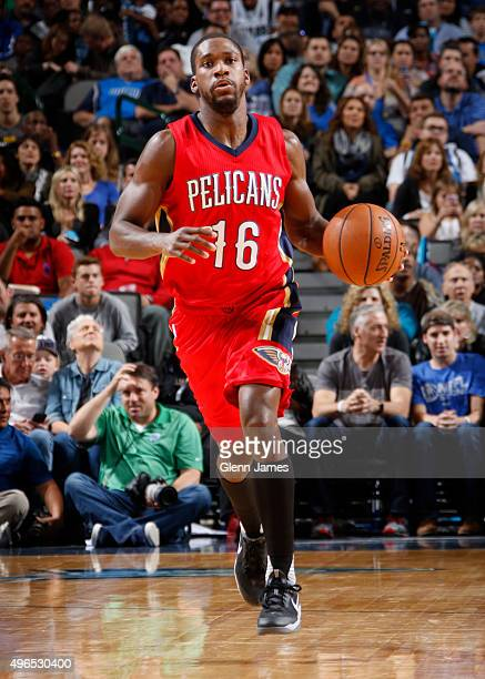 Toney Douglas of the New Orleans Pelicans dribbles the ball against the Dallas Mavericks on November 7 2015 at the American Airlines Center in Dallas...