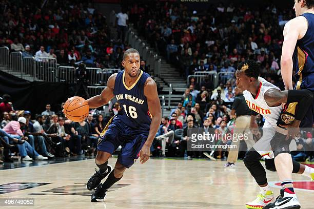 Toney Douglas of the New Orleans Pelicans drives to the basket against the Atlanta Hawks during the game on November 11 2015 at Philips Arena in...