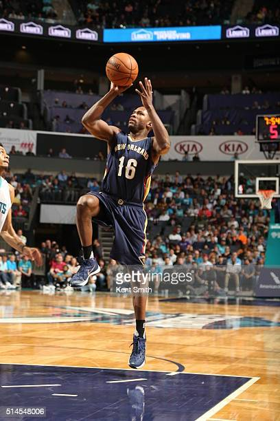 Toney Douglas of the New Orleans Pelicans goes to the basket against the Charlotte Hornets on March 9 2016 at Time Warner Cable Arena in Charlotte...