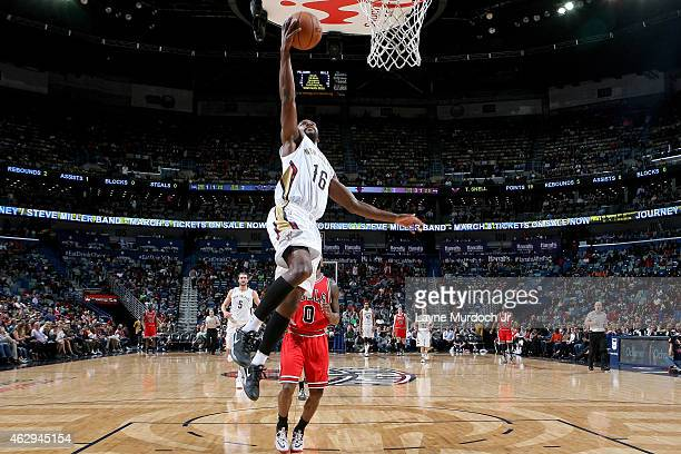 Toney Douglas of the New Orleans Pelicans goes up for a shot against the Chicago Bulls on February 7 2015 at Smoothie King Center in New Orleans...