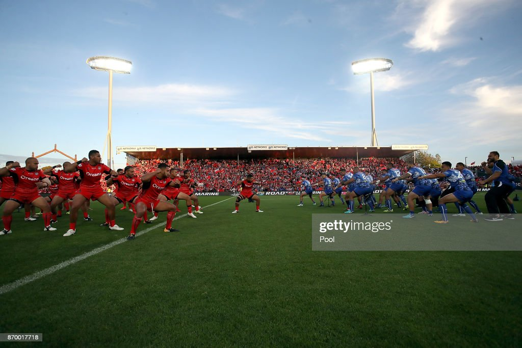 Tonga and Samoa perform the Haka during the 2017 Rugby League World Cup match between Samoa and Tonga at Waikato Stadium on November 4, 2017 in Hamilton, New Zealand.