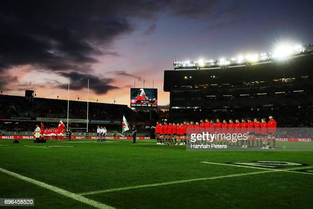 Tonga and Wales sing their national anthems ahead of the International Test Match between Tonga and Wales at Eden Park on June 16 2017 in Auckland...