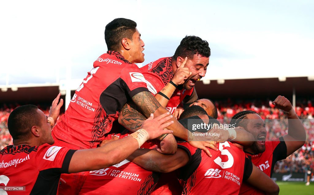 Tonga celebrate during the 2017 Rugby League World Cup match between the New Zealand Kiwis and Tonga at Waikato Stadium on November 11, 2017 in Hamilton, New Zealand.
