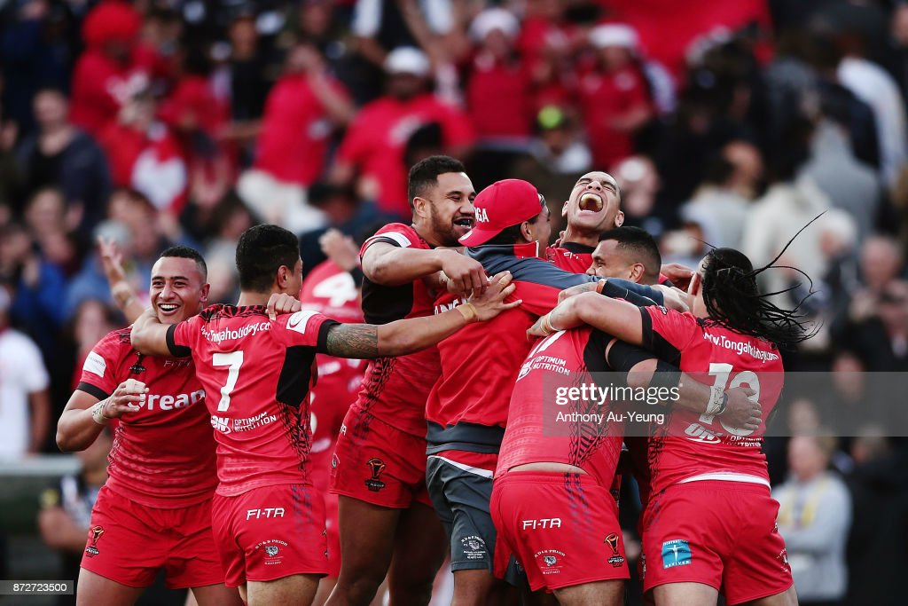 Tonga celebrate winning the 2017 Rugby League World Cup match between the New Zealand Kiwis and Tonga at Waikato Stadium on November 11, 2017 in Hamilton, New Zealand.