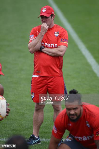 Tonga coach Kristian Woolf during a Tonga Rugby League World Cup training session at Mt Smart Training Field on November 21 2017 in Auckland New...
