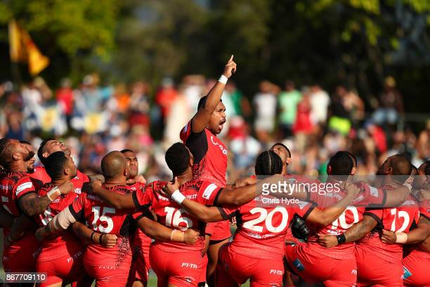 Tonga peform a traditional dance during the 2017 Rugby League World Cup match between Scotland and Tonga at Barlow Park on October 29 2017 in Cairns...