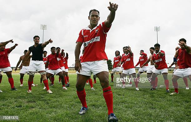 Tonga players perform a traditional war dance to celebrate victory after the Rugby World Cup 2007 Qualifier match between Korea and Tonga played at...
