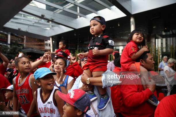 Tonga supporters wait to meet the Tongan Rugby League team during the Rugby League World Cup 2017 Fan Day at SKYCITY on November 21 2017 in Auckland...