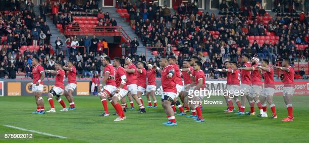 Tonga team do a haka before the international match between Japan and Tonga at Stade Ernest Wallon on November 18 2017 in Toulouse Kanagawa France