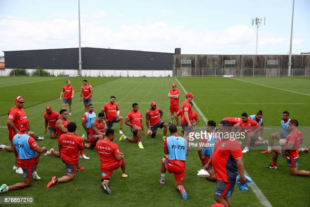 Tonga warm up during a Tonga Rugby League World Cup training session at Mt Smart Training Field on November 21 2017 in Auckland New Zealand