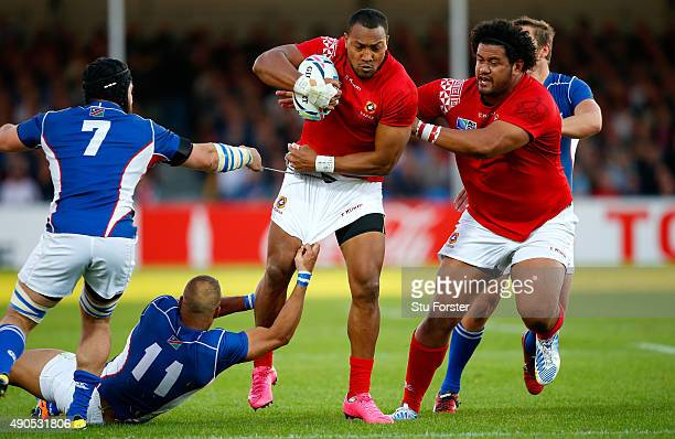 Tonga wing David Halaifonua makes a break during the 2015 Rugby World Cup Pool C match between Tonga and Namibia at Sandy Park on September 29 2015...