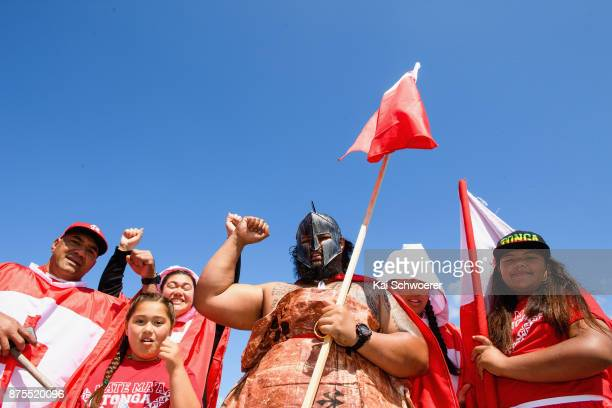 Tongan fans show their support prior to the 2017 Rugby League World Cup Quarter Final match between Tonga and Lebanon at AMI Stadium on November 18...