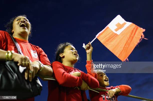 Tongan rugby fans cheer their team during a Tonga IRB Rugby World Cup 2011 training session at Western Springs Stadium on September 6 2011 in...
