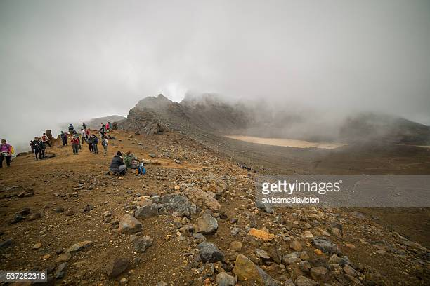 Tongariro Alpine crossing: People on top of the Red Crater