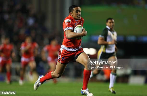 Tonga's Glen Fisiiahi the the 2013 World Cup match at Leigh Sports Village Leigh