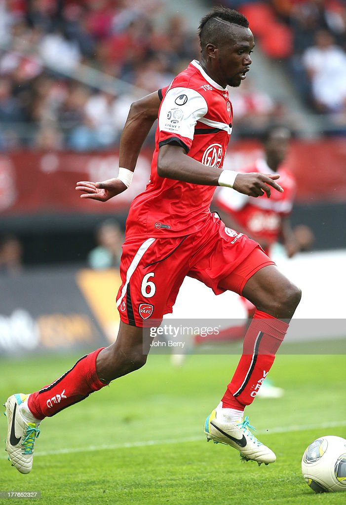 Tongo Doumbia of Valenciennes in action during the French Ligue 1 match between Valenciennes FC and Olympique de Marseille OM at the Stade du Hainaut stadium on August 24, 2013 in Valenciennes, France.