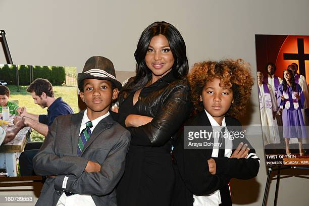 Toni Braxton and her sons Denim Cole BraxtonLewis and Diezel Ky BraxtonLewis arrive at the world premiere screening of 'Twist Of Faith' at Stephen S...