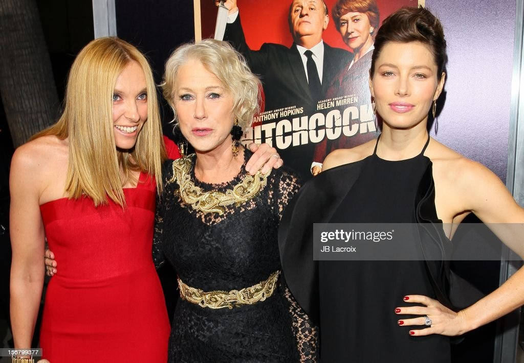 Toni Colette, <a gi-track='captionPersonalityLinkClicked' href=/galleries/search?phrase=Helen+Mirren&family=editorial&specificpeople=201576 ng-click='$event.stopPropagation()'>Helen Mirren</a> and <a gi-track='captionPersonalityLinkClicked' href=/galleries/search?phrase=Jessica+Biel&family=editorial&specificpeople=203011 ng-click='$event.stopPropagation()'>Jessica Biel</a> attend the 'Hitchcock' - Los Angeles Premiere at the Academy of Motion Picture Arts and Sciences on November 20, 2012 in Beverly Hills, California.