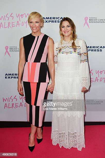 Toni Collette and Drew Barrymore arrive at the 'Miss You Already' Gala premiere at the State Theatre on September 30 2015 in Sydney Australia
