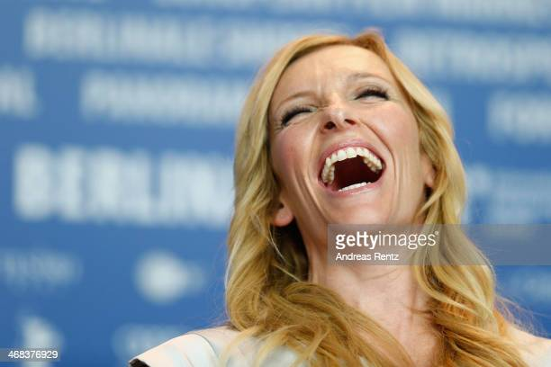 Toni Collette laughs at the 'A long way down' press conference during 64th Berlinale International Film Festival at Grand Hyatt Hotel on February 10...