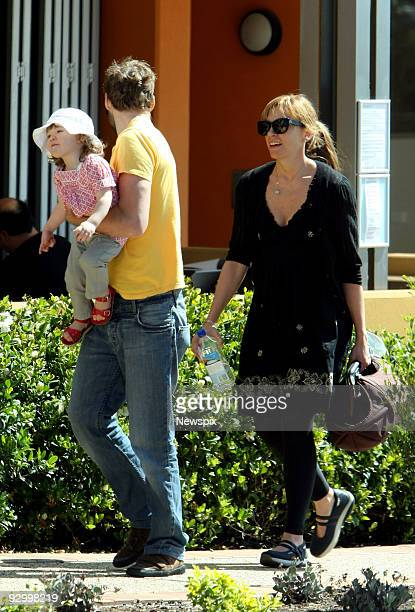 Toni Collette with her daughter Sage Florence Galafassi and husband Dave Galafassi leaving the Stunned Mullet Cafe in Port Macquarie on November 9...