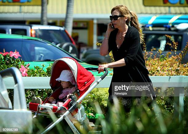 Toni Collette with her daughter Sage Florence Galafassi walking in Port Macquarie on November 9 2009 in Port Macquarie Australia