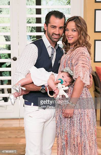 Toni Costa Adamari Lopez and Alaia Costa pose during her return to the set of 'Un Nuevo Dia' at Telemundo Studio on July 6 2015 in Miami Florida