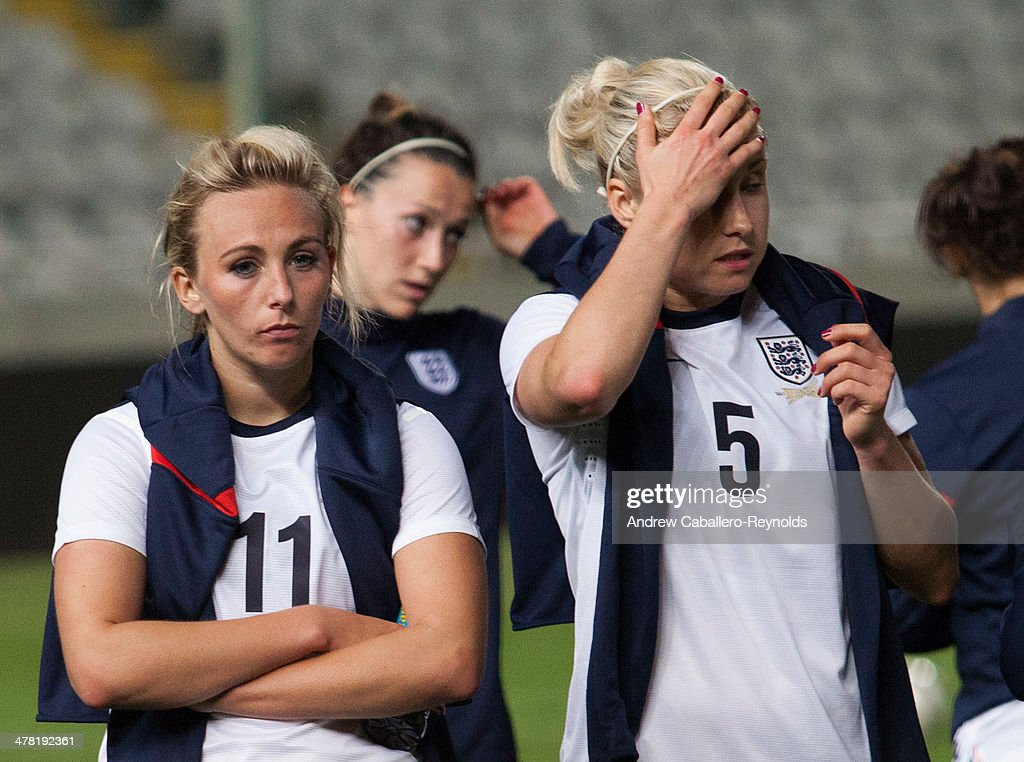 Toni Duggan (L) and Steph Houghton (R) of England react after they lost the Cyprus cup final between against France at GSP stadium on March 12, 2014 in Nicosia, Cyprus.
