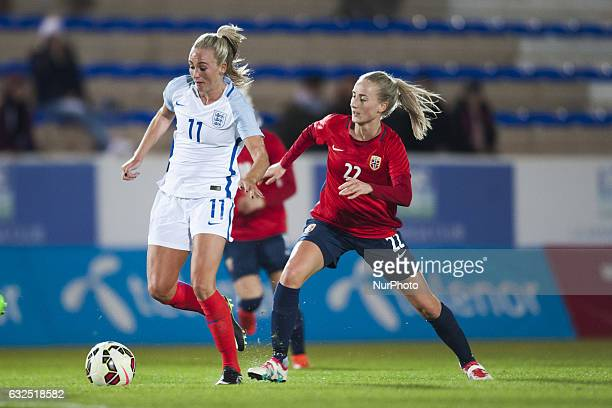 Toni Duggan Anja Sonstevold during the preseason friendly match between national women's Engalnd vs Norway in Pinatar Arena San Pedro del Pinatar...