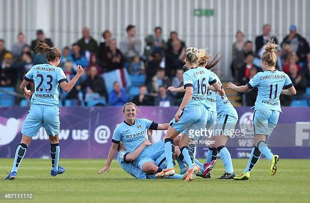Toni Duggan Manchester City Women celebrates her goal during the WSL match between Manchester City Women and Chelsea Ladies at the Manchester...