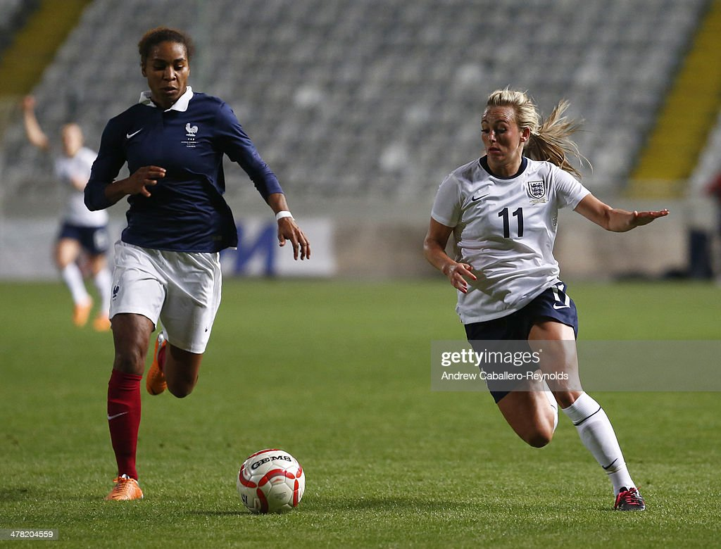 Toni Duggan (R) of England and Laura Georges of France in action during the Cyprus cup final between England an France at GSP stadium on March 12, 2014 in Nicosia, Cyprus.