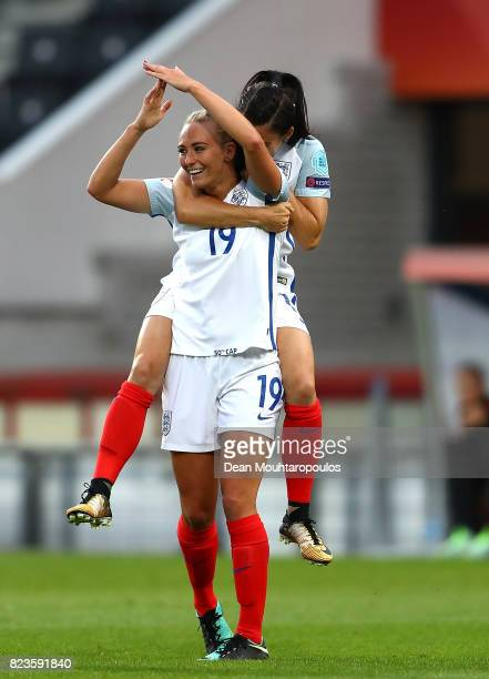 Toni Duggan of England celebrates after scoring her team's first goal of the game during the UEFA Women's Euro 2017 Group D match between Portugal...