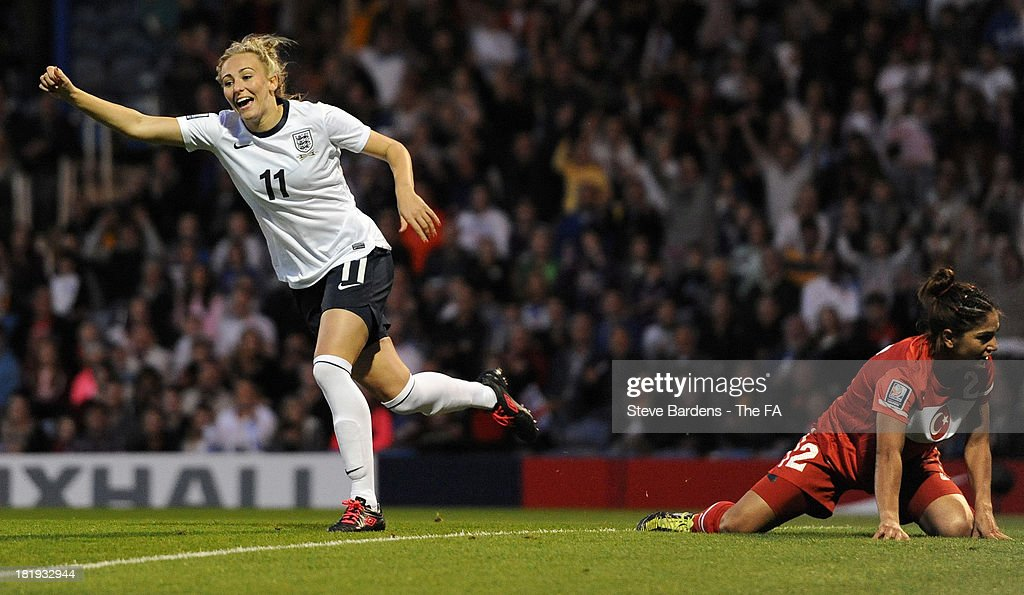Toni Duggan of England (L) celebrates scoring her 1st goal during the FIFA Women's World Cup 2015 Group 6 Qualifier between England and Turkey at Fratton Park on September 26, 2013 in Portsmouth, England.