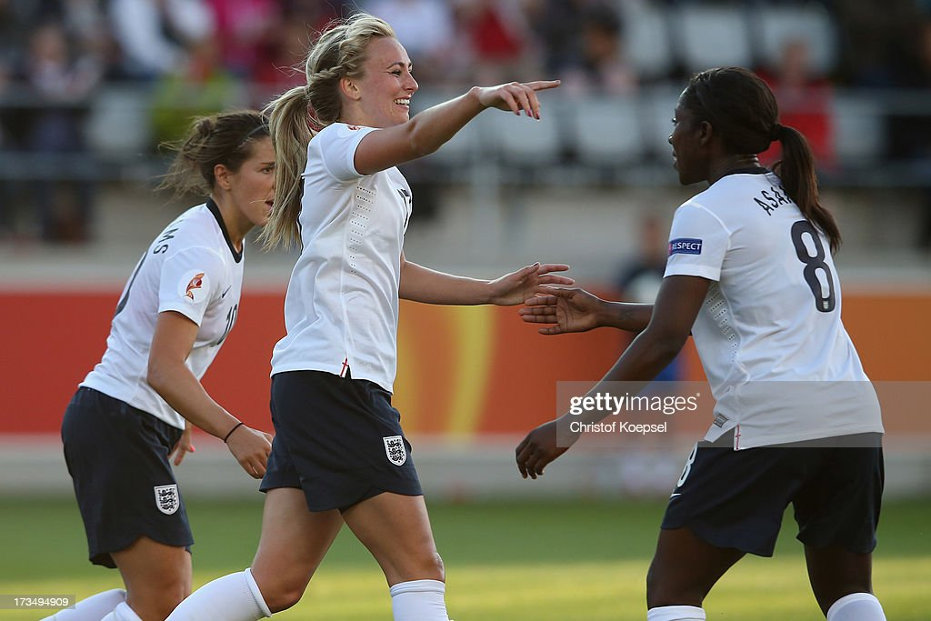 Toni Duggan of England celebrates the first goal with Anita Asante during the UEFA Women's EURO 2013 Group C match between England and Russia at Linkoping Arena on July 15, 2013 in Linkoping, Sweden. The match between England and Russia ended 1-1.