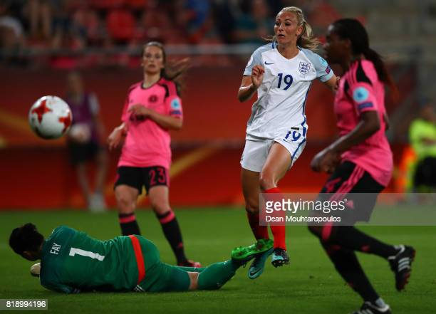 Toni Duggan of England goes close to scoring during the UEFA Women's Euro 2017 Group D match between England and Scotland at Stadion Galgenwaard on...