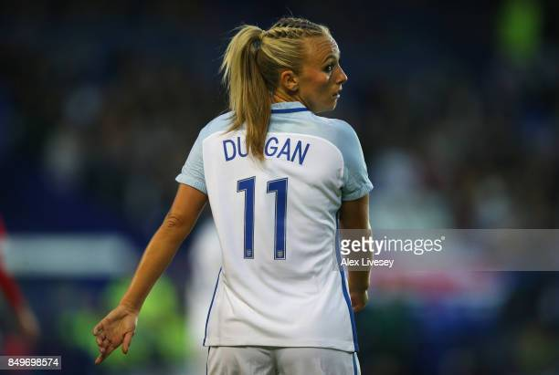 Toni Duggan of England looks on during the FIFA Women's World Cup Qualifier between England and Russia at Prenton Park on September 19 2017 in...