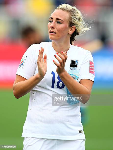 Toni Duggan of England salutes the fans after the match against France during the FIFA Women's World Cup 2015 Group F match at Moncton Stadium on...