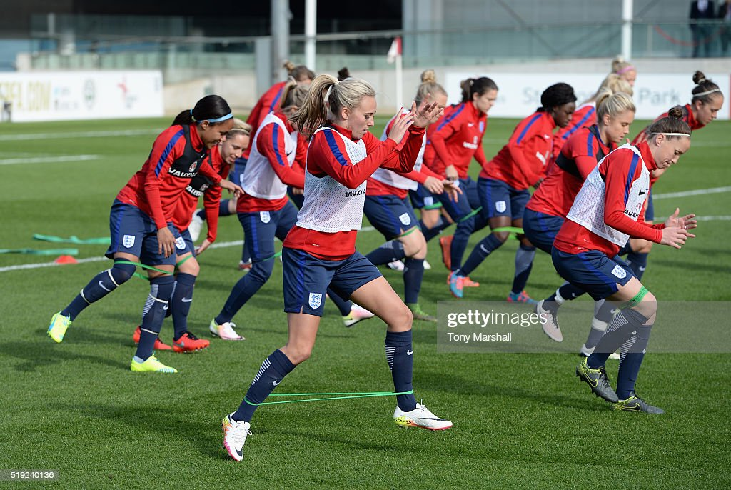 Toni Duggan of England takes part in the warm up during the England Women Training Session at St Georges Park on April 5 2016 in BurtonuponTrent...