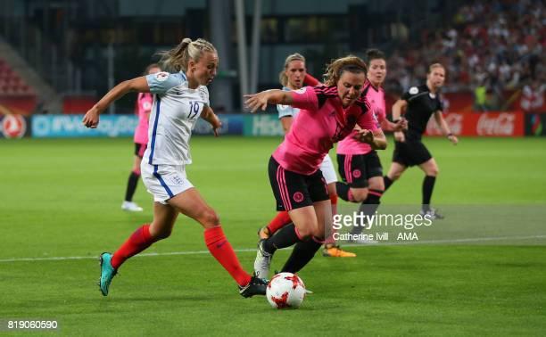 Toni Duggan of England Women and Rachel Corsie of Scotland Women during the UEFA Women's Euro 2017 match between England and Scotland at Stadion...