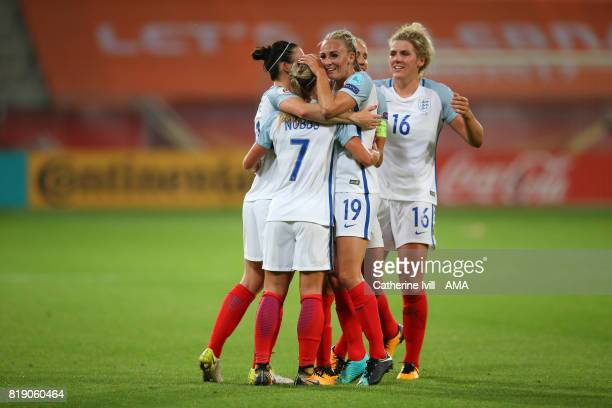 Toni Duggan of England Women hugs her team mates as they celebrate during the UEFA Women's Euro 2017 match between England and Scotland at Stadion...